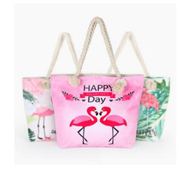 Wholesale Flamingo Handbags - Handbags Fashion Large Capacity Backpack Summer Beach Bag Lady Leaf Flamingo Printed Shoulder Bag Female Women Shopping Bag Free shipping