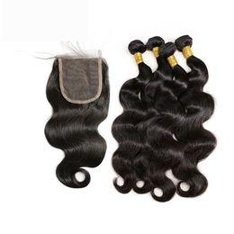 Onda del corpo capelli vergini brasiliani pendenti rosa con chiusura top grado 9A capelli vergini brasiliani con chiusura a buon mercato tessuto dei capelli umani con chiusura da