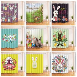 Wholesale Curtain Printing - Easter Bunny Rabbit Shower Curtain 180*180cm 3D Easter Egg Printed Waterproof Polyester Shower Curtain for Bathroom OOA4152