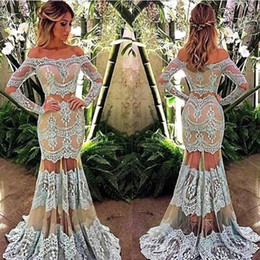 Wholesale Modern Beauty - Two Pieces Lace Mermaid Prom Dresses 2018 Arabic Off Shoulder Beauty Queen Evening Dress Custom Made Party Gown With Long Sleeves