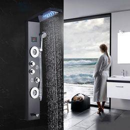 2019 ducha de lluvia de masaje Baño Ducha grifo LED Cascada Lluvia Ducha Panel Masaje Chorros Bañera Ducha Columna Mezclador Grifo para bar ducha de lluvia de masaje baratos