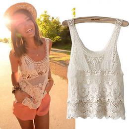 Wholesale Vintage Crochet Vest - Women Summer Hippie Bohemian Vintage Chic Top Crochet Lace Beige Sexy Tank Vest Top