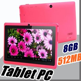 Wholesale Android Mid - 100X 2018 Dual Camera Q88 A33 Quad Core Tablet PC 7 Inch 512MB 8GB Android 4.4 kitkat Wifi Allwinner Colorful DHL MID cheapest C-7PB