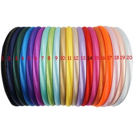 hair hoop stick Promo Codes - 20color Handmade Satin Covered Resin Hairbands For Girls Solid Hair Band DIY Headband Children Kids Head Hoop