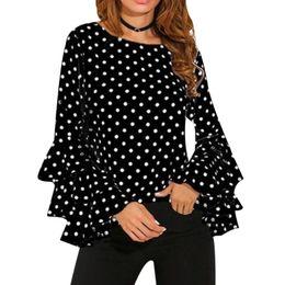 Wholesale Sleeveless Long Blouse White - Elegant Polka Dot Print Flare Sleeve Women Blusas Shirts O-neck Long Sleeve Chiffon Blouse Ladies Tops Korean White Black Blouse