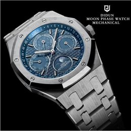 Wholesale Perpetual Moon - 2018 new Automatic Watches Men Mechanical Watch Top Luxury Brand Male Moon Phase Diving Calendar Wristwatch Waterproof