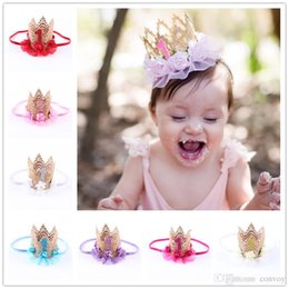 Wholesale baby birthday girl tiara - Baby Birthday Crown headbands Kids Elastic Flower Headband Tiara Hairbands girls Children Hair Accessories Princess Party Headdress KHA281