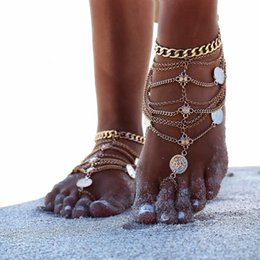 Wholesale Slave Girl - Gold Silver Foot Jewelry Sandals Stretch Anklet Chain with Toe Ring Slave Anklets Chain Retaile Sandbeach Wedding Bridal Bridesmaid D894S