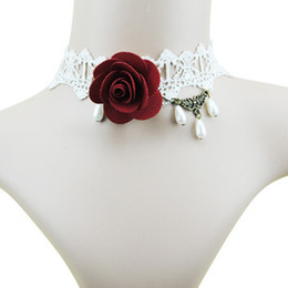 Wholesale Rose Lace Choker - whole sale2015 European and American fashion Gothic Rose Wedding Bridesmaid white lace necklace crystal necklace wholesale free shipping