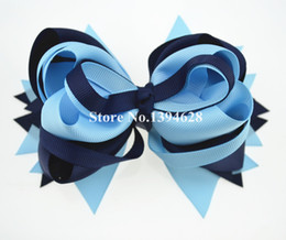 """Wholesale Navy Hair - $1.99 1PC 5.5"""" Navy Blue Mist Tuxedo Boutique Stacked Bows With 6cm Hair Clips Grosgrain Ribbon Bows Hair Accessories"""