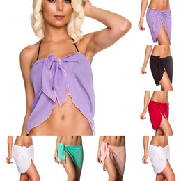 d0628bc6b4 Hot Solid Women Swimwear Cover-Ups Sexy Pareo Chiffon Wrap Beach Sarong Bikini  Cover Skirt Sexy Women Beachwear Beachwear