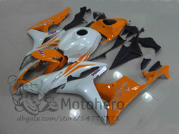 Wholesale orange white motorcycle fairings - New ABS motorbike fairing kits fit for Honda 2007 2008 CBR600RR F5 07 08 good plastic fairings Orange White motorcycle bodywork set W215g