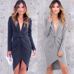 Wholesale Irregular Pleat Dress - Women sexy Deep V Neck irregular dress Party Casual long sleeve Deep V Neck Slim sexy dress LJJK847