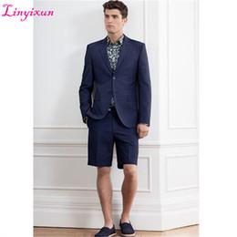 bc0ec483d091 abiti da sposa per uomini corti Sconti Linyixun 2018 New Blue Wedding Suit  uomo con pantaloni