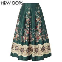 Wholesale Ethnic Print Skirts - NEW OOPS Autumn Winter Ethnic Floral Print Skirts Women Clothes 2017 High Waist Pleated Skirt Elegant Vintage Midi Saia A1608006