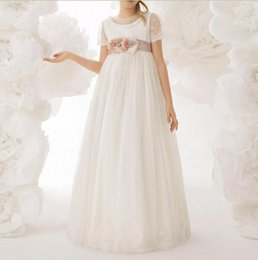 Wholesale Cupcake Caps - 2018 Pink Lovely Short Sleeves Flower Girl Dresses Cupcake Crew Neck Lace Bodice Appliques Belt Girl's Pageant Dresses Toddler Sweep Train