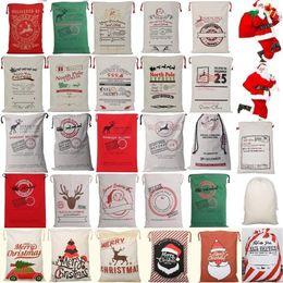 Wholesale wholesale santa sacks - New 26 colors Christmas Bags Large Organic Heavy Canvas Bag Santa Sack Drawstring Bag With Reindeers Santa Claus Sack Bags for kid 4549