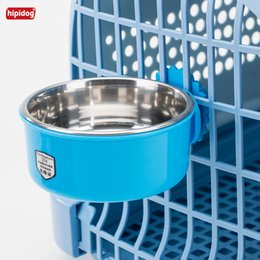 Wholesale Bowl Feeders Stainless - Hipidog 2018 New Pet Dog Cat Feeding Bowls Multi-color Sunflower Stainless-steel Durable Water Dish Feeder Hanging Cage Bowl