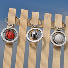 Wholesale golf key chains - Creative Charm Football Keychain Rotating Soccer Basketball Golf Key Chain Pendant Gifts Party Festive Favor HH7-376