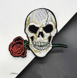 Wholesale Iron Applique Letters - 10*9 CM Skull Patches Custom Music Punk ACDC Embroidered Applique Patch Iron On Letter Patches For Clothes Stickers