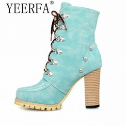 Wholesale thick high heels spikes - YIERFA Rivets Punk Style Gladiator Boots for Women Lace Up High Spike Heels Boots Ankle Thick Heels Knight Woman