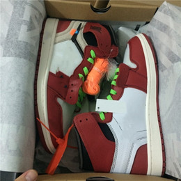 Wholesale Top Quality Mens Shoes - with original Box top Quality New 1 Chicago red mens and women Basketball Shoes Sports shoes