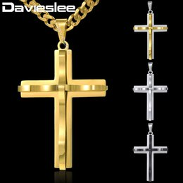 Wholesale Horn Tones - whole saleDavieslee Curved Cross Pendant Necklace Mens Chain Curb Cuban Link Stainless Steel Black Gold Silver Tone 18-36inch DKPM137
