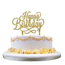 16 * 11cm buon compleanno acrilico cake topper decorazione forniture bambini bambini torte glitter decor cake stand topper puntelli del partito da
