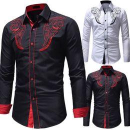 7faa1d49e0a New Fashion Men Luxury Blouse Shirt Casual Long Sleeve Shirts Men Formal  Party Business Slim Fit Shirt Black White Size M-2XL