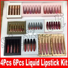 Nus batons on-line-6 pçs / set mini aniversário de ouro batom líquido dos namorados feriado 4 pçs / set lip gloss me enviar mais conjunto nus lipgloss
