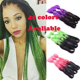 Crochet Straight Hair Extensions Xpression Braiding Hair, 10Pcs Lot Synthetic Braids Ombre Two Tone Kanekalon Braid Coupons