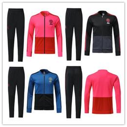 Wholesale training suits for men - 18-19 Thai Quality LUKAKU POGBA United jacket Ibrahimovic MARTIAL LUKAKU MKHITARYAN RASHFORD football Training suit kits For adult
