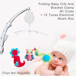 Wholesale cross crib - Folding Baby Crib Arm Bracket Clamp, environmental friendly ABS material in white, W  Cross & 12 Tunes Electrical Music Box, easy to install