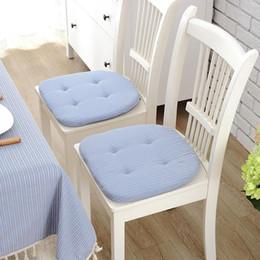 Almofadas de fezes on-line-Japão Fresco Lattice Almofadas Restaurante Cadeira de Jantar Almofada Verde Agulha Prego Cadeira Almofada Em Forma de Ferradura Estudante Fezes Mat40