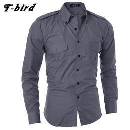 9ad32632f118 Men Shirt Long Sleeve 2017 Brand Shirts Men Casual Male Slim Fit Double  Pocket Decoration Chemise Mens Camisas Dress Shirts XXL