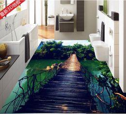 Wholesale Bamboo Flooring Kitchen - pvc vinyl flooring tiles Wooden bridge bamboo sky water white clouds water 3D floor tiles