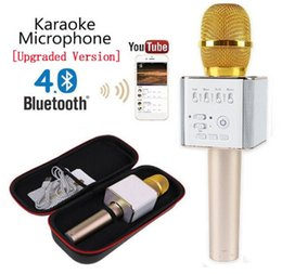 Wholesale Loudspeaker Android - Magic Q9 Bluetooth Wireless Microphone Handheld Microfono KTV With Speaker Mic Loudspeaker Karaoke Q7 Upgrade For android phone 0802219DHL