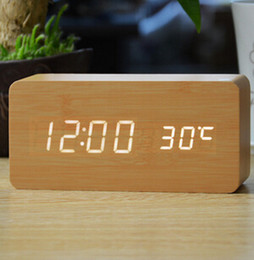 Wholesale Electronic Calendar Alarm - Wooden LED Alarm Clock Electronic Desktop Digital Table Clocks 3 Brightness Adjustable Voice Control Displays Time Temperature Home Decor