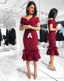 African Arabian Cocktail Dresses Burgundy Mermaid Off-Shoulder Tea-Length Fur Ruffled Pleated Prom Party Gown Celebrity Dress Cheap