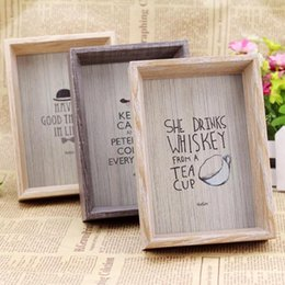 Wholesale Wood Photo Frames Wholesale - Retro table decor Vintage Photo Frame Wood Wedding Pictures Frames Warm Family Frame home decoration A2