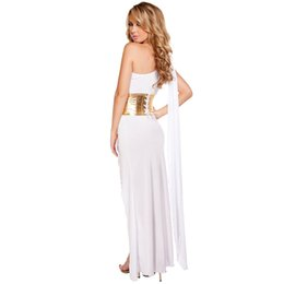 Wholesale Women Cleopatra Costume - queen cleopatra costume SESERIA Black White Sexy Egyptian Queen Cleopatra Costume Women Halloween Costumes for Adults Long Dress