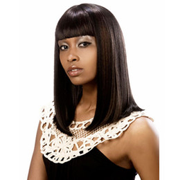 Wholesale Hairpieces For Black Women - Amir 14'' Long Straight Black Wig Women Hairstyles Heat Resistant Synthetic Wigs For Black Women African American Hairpieces