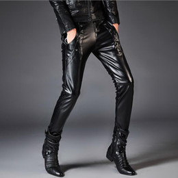 Wholesale Motorcycle Warm Winter Pants - mens leather pants New Winter 2018 More Men's Fashion Leisure Warm High-end Motorcycle Man Leather Pants