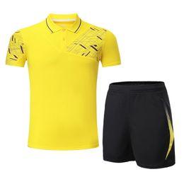 Wholesale table tennis suit - 2017 Quick Dry Top Quality Men Running Set Sportswear Suit Badminton Table Tennis Shirt Clothes Sport POLO T Shirts+Shorts Set