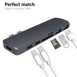 2019 porta mozzi compatte del usb Hub USB Type-C 7 in 1 Hub Type C Adapter con porte USB 3.0 Ultra-thin Ultra Speed per Macbook Google Chromebook MP4 Ship Out From USA