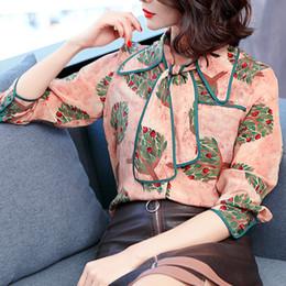 Wholesale Korean Womens Fashion Blouses - 2018 New Shirt Female Spring Korean Fashion Bow Long Sleeve Vintage Print Blouse Womens Fake Silk Fashion Tops