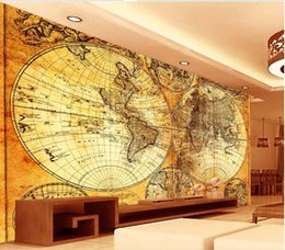 Wholesale Tv Wall Design Wallpaper - wallpaper world map European world map TV background wall design wall papers home decor living room