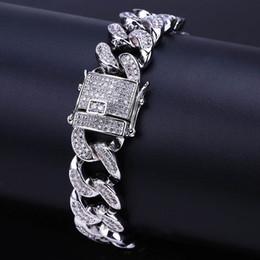 pulsera dorada pesada Rebajas Cuban Link Pulsera Hombres Zircon Curb Hip Hop Jewelry Oro Plata grueso Cobre pesado Iced Out CZ Pulseras de cadena 8