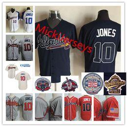 Wholesale Ivory Jones - Mens Stitched Chipper Jones 2018 HOF patch Jerseys White Red Cream Gray #10 Chipper Jones 1995 WS patch baseball Jersey S-3XL