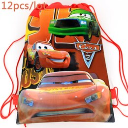 Happy Baby Shower Cars Red Drawstring Mochila Gifts Bag Non Woven Fabric Backpack Kids Birthday Party Decoration Supplies 12PC Outlet